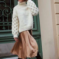 silk skirt + sweater