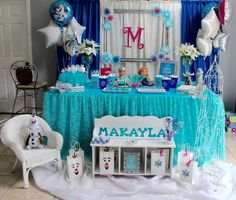 Amazing dessert table at a Frozen birthday party! See more party ideas at CatchMyParty.com!
