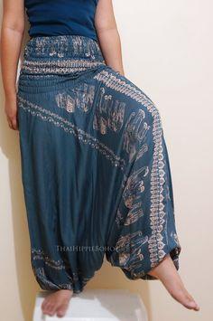 Thai Classic Elephant Harem Pants Boho Hippy Hippie / Aladdin Pants/ Genie Pants (Gray)