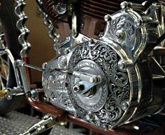 Trevelens Crazy Horse -Primary engraving by Tarrera, cool auger bits used in frame down tubes. Biker build-off winner.