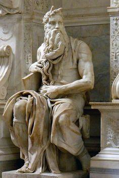 Hoge Renaissance ~ Michelangelo Buonarroti ~ Graftombe van paus Julius II: Mozes ~ ca. ~ San Pietro in Vincoli, Rome Statues, Famous Sculptures, Italian Sculptors, Art Ancien, High Renaissance, Western Art, Ancient Art, Art And Architecture, Sculpture Art
