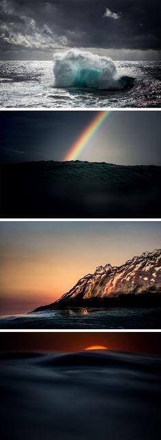 New Photographs of Waves Crashing Against the Setting Sun by Warren Keelan