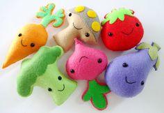Felt Veggie Softies Sewing Pattern  Toy by preciouspatterns