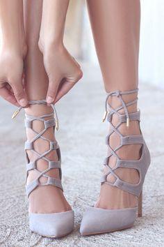 Grey Suede Lace-Up Heels