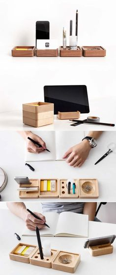 Pen Stand Holder Wooden Smart Phone Dock Storage Desktop Accessories Set Más