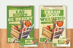 Organic Food Flyer & Poster Template PSD Flyer Design Templates, Flyer Template, Poster Templates, Fresh Eats, Flyer And Poster Design, Organic Market, Organic Recipes, Twinkle Twinkle, Food