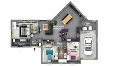 """Plan de maison """"EXCELLENCE"""" // Plain-pied // 2 chbres + suite parentale + cellier + garage // Gamme Traditionnelle chez Maison Laure www.constructeur-maison-laure.fr"""