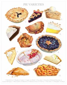 This links to my new favorite Etsy store. :D -- Pie Varieties Wall Art // Food Illustration // Archival Quality Print Cake Drawing, Food Drawing, Cute Food, I Love Food, Dessert Illustration, Illustration Art, Pies Art, Food Sketch, Watercolor Food