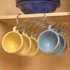 Pantry organizers and kitchen cabinet organizers extend pantry shelf space and organize cabinets for maximum storage with your current kitchen storage. Pantry Shelf Organizer, Kitchen Cupboard Organization, Home Organisation, Kitchen Cupboards, Storage Shelves, Cabinet Organizers, Coffee Mug Storage, Coffee Mugs, Coffee Lovers