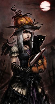 Halloween anime girl witch cat black