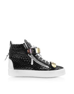 Giuseppe Zanotti Black Embossed Croco Patent Leather High-top Sneaker at FORZIERI