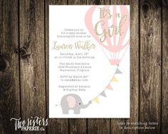 It's a Girl Elephant Baby Shower by TwoSistersPaperieCo on Etsy