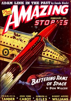 Amazing Stories, Feb. 1941, cover by Leo Morey / Sonofa--I just had this repainted!