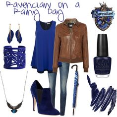 Ravenclaw on a Rainy Day by sad-samantha on Polyvore featuring Lazy Lu, D&G, G-Star Raw, Casadei, Moschitto Designs, River Island, Forever 21, Opening Ceremony, Napoleon Perdis and OPI