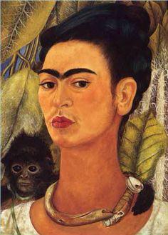 Self Portrait with Monkey, by Frida Kahlo, 1938