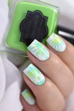 Easy tropical nail art tutorial with BP-L047 - tropical nails - summer nails - palm trees