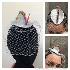In honour of #bergenpride18 : The hat I made for my friends openly gay-anniversary party with a #rainbow #unicorn theme.  #fascinator #cocktailhat #fashion #hatseason #hatselfie #millinery #millinerycouture #pillboxhat #gaypride