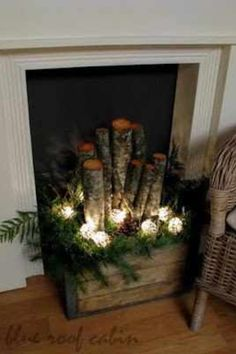 Crate with logs and greenery with some lights