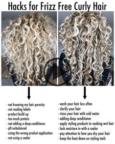 How to reduce frizz?   Frizz seems the biggest curly hair frustration of all times!   So hereby some tips and tricks that's helping… Wavy Hair Care, Curly Hair Updo, Big Curly Hair, Colored Curly Hair, Curly Hair Tips, Curly Hair Styles, Curly Hair Products, Natural Curly Hair, Natural Curls