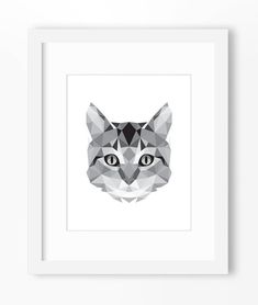 Chat reproduction, Art de chat, Art mural chat, chat graphique Print, imprimé mural chat, Origami chat reproduction, visage chat, chat géométrique Art, Triangle d