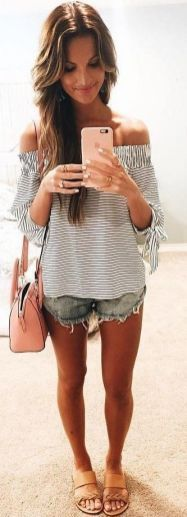 i love this look. jean shorts off the shoulder top and the sandals. I cant find a top that hits like that one length, flow/looseness, but i love everything about this outfit.
