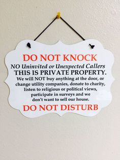 Do Not Knock/Disturb No Soliciting Sign Plaque