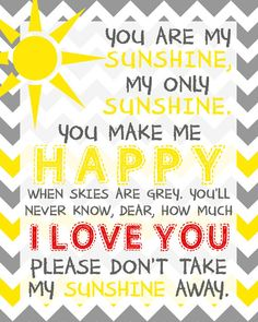 You Are My Sunshine Wall Art Printable. by LittleLifeDesigns