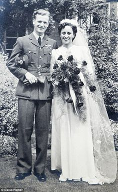 RAF pilot Tom Neil is pictured on his wedding day with wife Eileen, whom he married in June She died last year Wedding Bride, Wedding Events, Wedding Gowns, Wedding Day, Wedding Tips, Wedding Shot, Bridal Gown, Wedding Ceremony, Vintage Wedding Photography