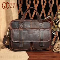 Men Crazy Horse Leather Laptop Commercial Shoulder Briefcase With Front Pocket #Unbranded #BriefcaseAttache