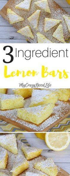 These 3 ingredient lemon bars are the perfect blend of simple and delicious! The… These 3 ingredient lemon bars are the perfect blend of simple and delicious! They're super easy to make and they taste AMAZING! Paleo Dessert, Lemon Dessert Recipes, Köstliche Desserts, Dessert Bars, Baking Recipes, Lemon Recipes Simple, Sweet Recipes, Cake Recipes, 3 Ingredient Desserts