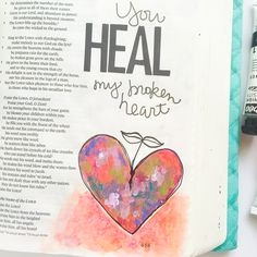mixed media art journaling Bible | illustration | acrylic paint | hand lettering | Psalm 147 | Bekah Blankenship