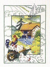 Amazon.com: Chickens At Cottage - Cross Stitch Kit: Arts, Crafts & Sewing