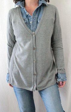 J. Jill 100% Cotton L Sleeve Vneck Button Down Cardigan Gray Sz M #JJill #Cardigan