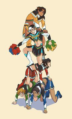 Like a Cheerleader Pyramid- Lance, Pidge, Keith, Shiro and Hunk as Voltron Cheerleaders and formed a pyramid from Voltron Legendary Defender.