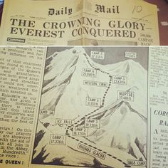 Mar 9: And delivery #2: the only copy of #thedailymail that I've ever bought and will ever buy: the newspaper from the day of #EdmundHillary and #TenzingNorgay making the first ascent of #MountEverest.  I'm making a booklet in typography about it - we chose a year out of a hat and I picked 1953 which was the year of the Queen's Coronation but I never even entertained that idea. I had three choices: first ascent of Everest; first issue of Playboy; and the discovery of the double-helix…