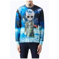 Fashion 3D Alien Cat Pattern Long Sleeve Round Neck Sweatshirt ($33) ❤ liked on Polyvore featuring tops, hoodies, sweatshirts, blue sweatshirt, cat top, round top, cat print sweatshirt and long tops