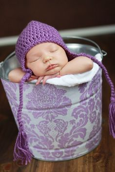 Fabric Covered Galvanized Bucket Plum Delovely Damask