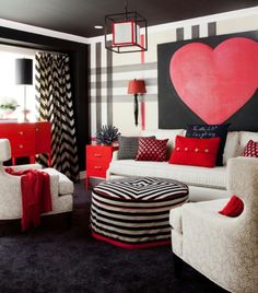 Gentil Jennifer Brouwer Design: Fun Bold Living Room Design With Oversize Black,  White And Red Painted Plaid Wall.