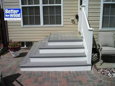 Steps down to patio from back door Patio Steps, Front Porch Steps, Outdoor Steps, Back Patio, Backyard Patio, Concrete Patios, Concrete Steps, Stamped Concrete, Front Door Entryway