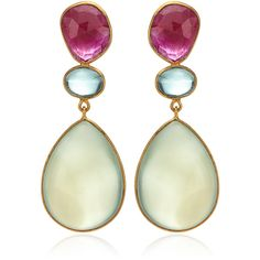 Bahina One Of Kind 18K Yellow Gold Green Agate Green Tourmaline And Glassfilled Ruby Earrings featuring polyvore, fashion, jewelry, earrings, yellow gold earrings, gold ruby earrings, green tourmaline earrings, 18k gold earrings and green tourmaline jewelry