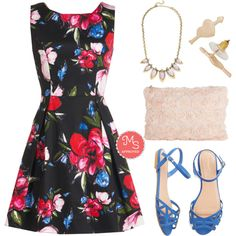 In this outfit; Sprout About Dress, Coffee Shop Celebration Necklace in Rose, Right On Cupid Earrings, Chic to Chic Clutch, Favorite Delicatessen Sandal in Cornflower Blue #floraldress #hearts #roses