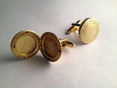 Men's Pair of Brass Metal Circle Photo Frame Locket by Lynx2Cuffs, $25.99