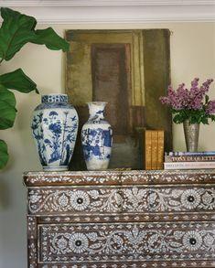 Dresser with inlay + Chinoiserie blue and white vase - Interior design by: Schuyler Samperton
