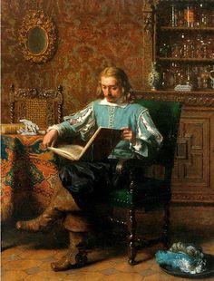 A Cavalrist Reading in a 17th Century Interior, Lambertus Lingeman. Dutch (1829-1894)