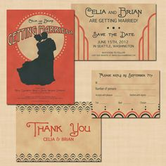 Vintage Charleston Wedding Invitation Suite: Save the Date, Invite, RSVP, and Thank You Card. $44.00, via Etsy.