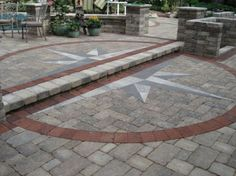 Unilock - Patio Wall and Step featuring Brussels Block paver and Il Campo accent Driveway Design, Patio Wall, Photo Projects, Car Parking, Front Porch, Entrance, Sidewalk, Planters, Brussels