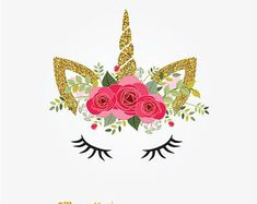 Unicornio se enfrenta a imágenes prediseñadas, oro brillo cara de unicornio, unicornio Floral, flores de Unicor, brillo unicornio gráficos, Clipart Unicornio, unicornio cara png