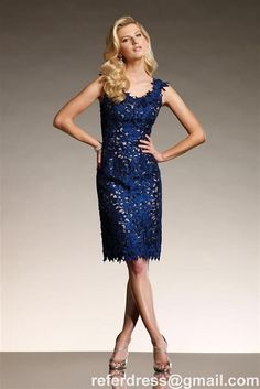 Navy Blue Cup Sleeves Knee Length Mother Of The Bride Dress Short Dress