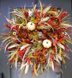 Fall Wreath-Wispy Twig Wreath-Pumpkin/Wheat by SeasonalWreaths