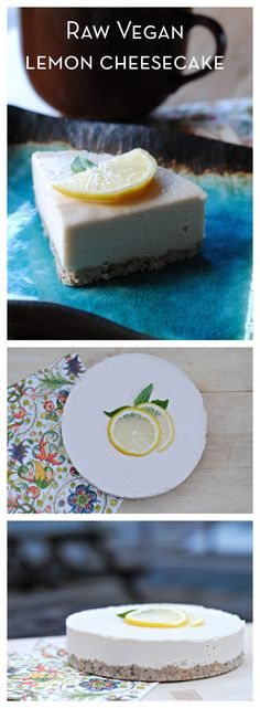 Raw Vegan Lemon Cheesecake ~ I love lemon desserts and that's probably 1 of my favorites. Raw desserts are the yummiest ! Healthy Vegan Dessert, Coconut Dessert, Raw Vegan Desserts, Brownie Desserts, Oreo Dessert, Raw Vegan Recipes, Vegan Treats, Healthy Sweets, Vegan Foods